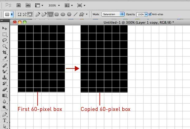 Create and copy a 60-pixel box