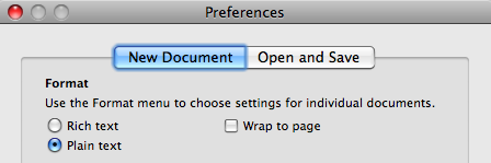TextEdit preferences