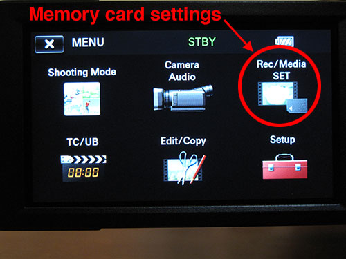Settings for changing memory card