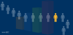 Data visualization in health care. image contains people standing in a line. background has a bar chart.